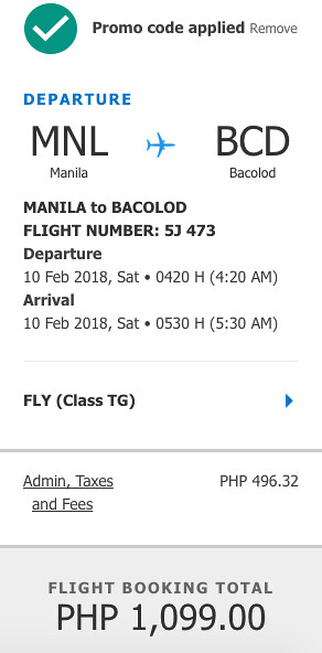 Manila to Bacolod Cebu Pacific Air Promo Feb 10, 2018