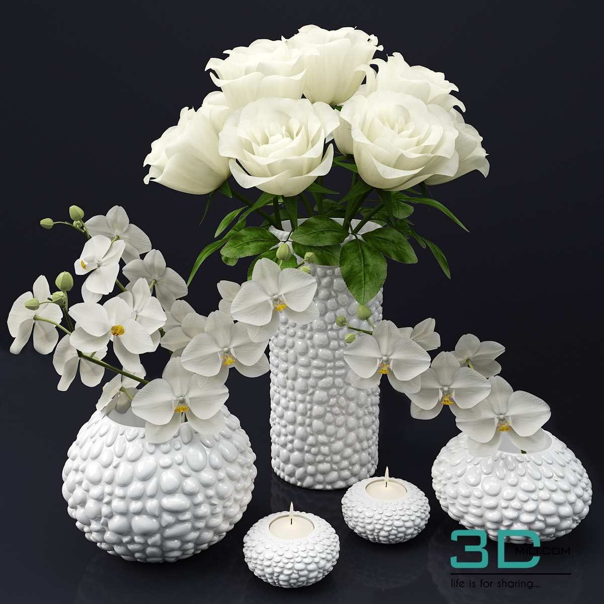 12 flower 3d model 3d mili download 3d model free 3d for Mobel 3d download