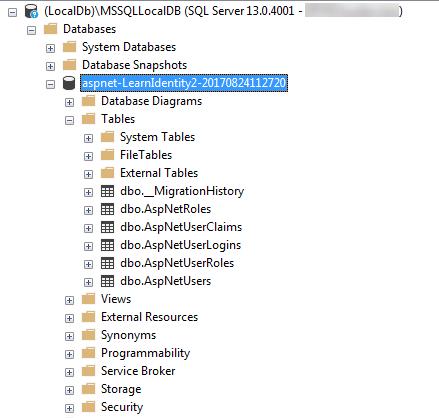 Database trong LocalDb
