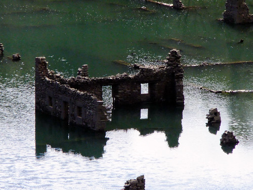 The ruins of a drowned village of Mansilla de la Sierra in Spain