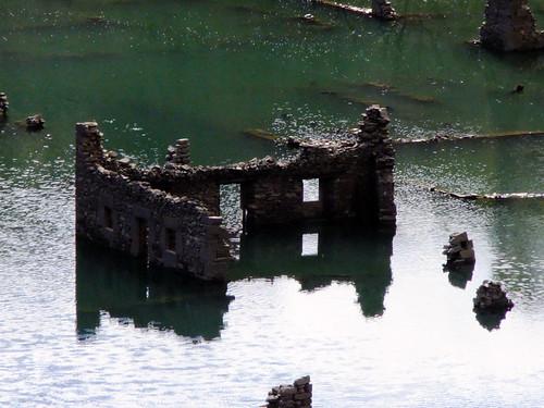 The ruins of a drowned village of Mansilla de la Sierra in Spain