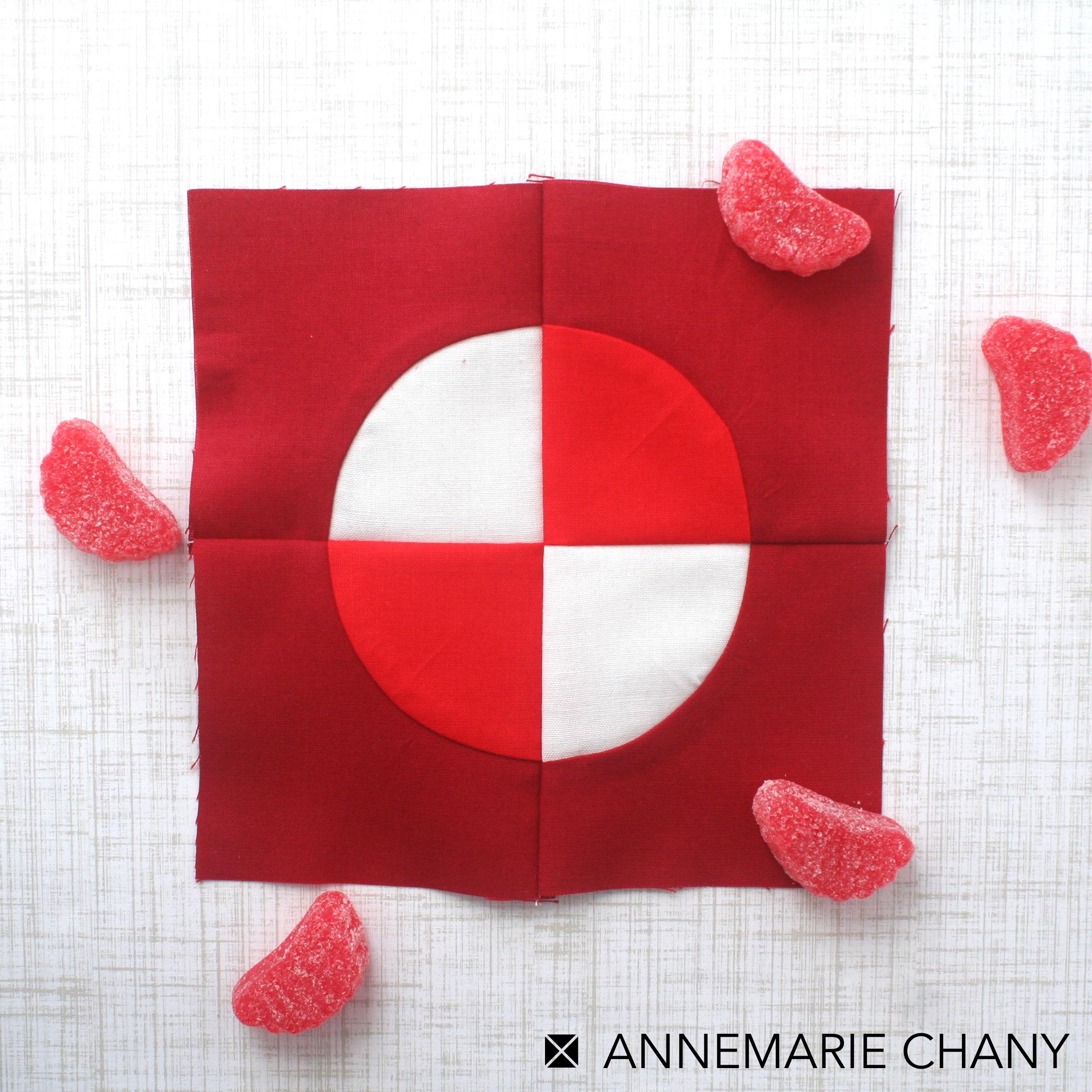 Chocolatier Block of the Month by AnneMarie Chany Drunkard's Path Quilt Block