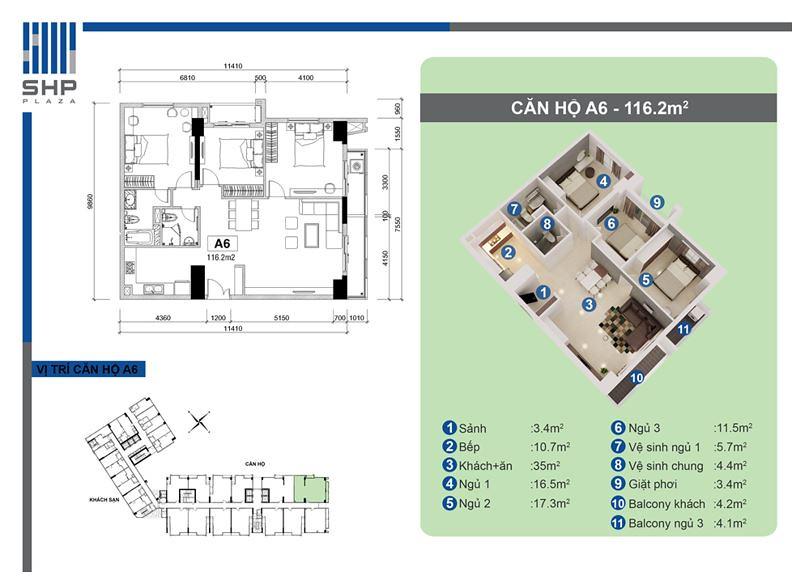 """Mẫu A6 - loại 116.2m2 - Tòa nhà cho thuê căn hộ SHP  <img src=""""images/"""" width="""""""" height="""""""" alt=""""Công ty Bất Động Sản Tanlong Land"""">"""
