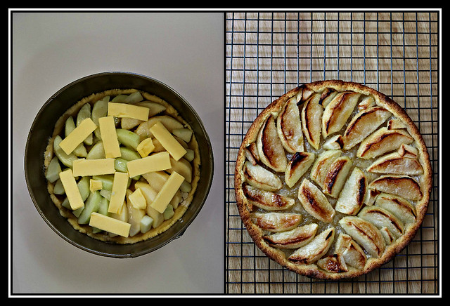 2017 Sydney collage: Apple Tart before & after baking