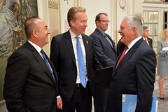 Secretary Tillerson Chats With Turkish Foreign Minister Cavusoglu and Norwegian Foreign Minister Brende Before the Ministerial Discussion on Syria in New York City