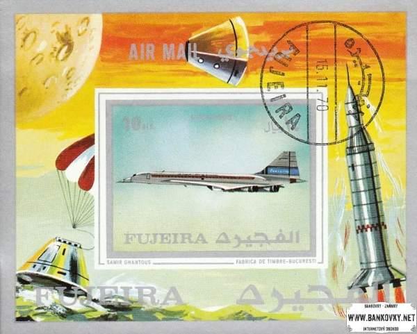 Známky Fujeira 1971 Letectvo a vesmír, razítkovaný hárček