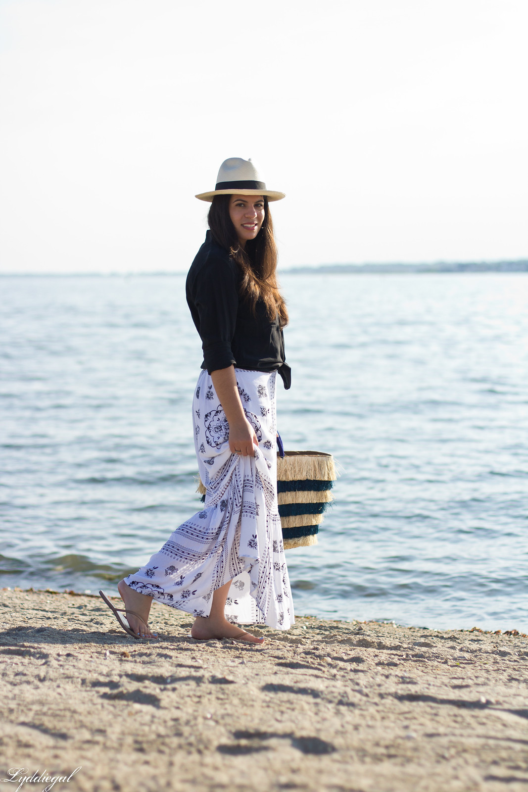 black button down, bohemian maxi skirt, kayu pinata tote-3.jpg