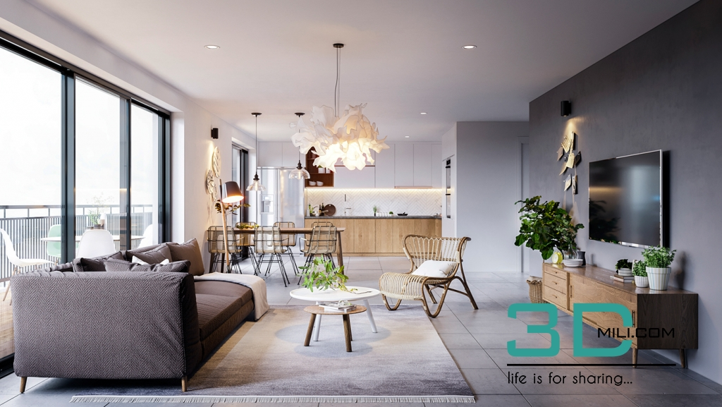 Free 3d Scene Living Kitchen Room Doan Nguyen 3d
