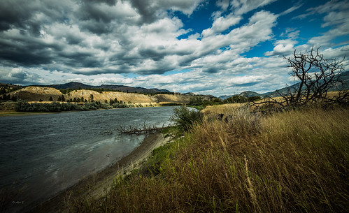 cloud clouds river water grass landscape bc canada kamloops
