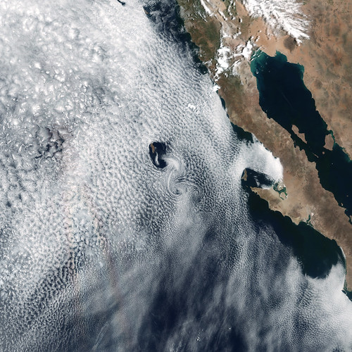 Spiraling Cloud Patterns Over Guadalupe Island