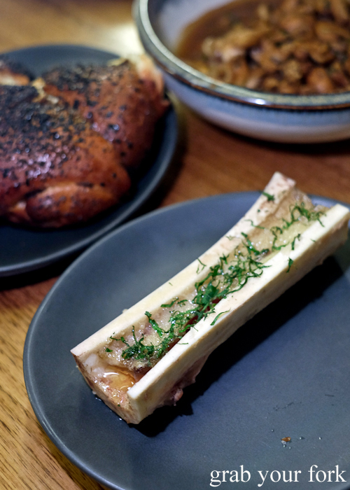 Bone marrow, mushrooms and challah at the Hungarian Jewish pop-up by Adam Wolfers at Bar Brose in Darlinghurst