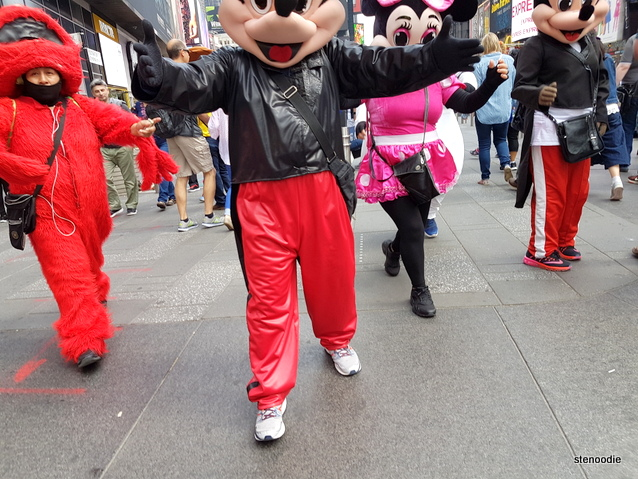 Cartoon characters in Times Square
