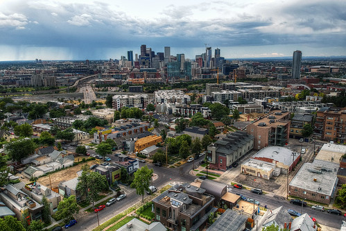 colorado denver skyline rain storm dji