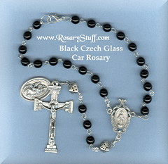 Jet Black Car Rosary with Dice Paters - St Christopher