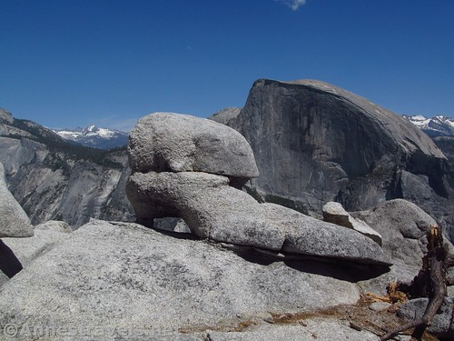 A shoe-shaped rock on North Dome, Yosemite National Park, California