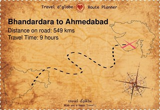 Map from Bhandardara to Ahmedabad
