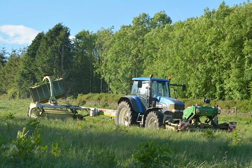 New Holland TM190 Tractor with a John Deere Front & Claas Disco Trailed Mower Conditioners