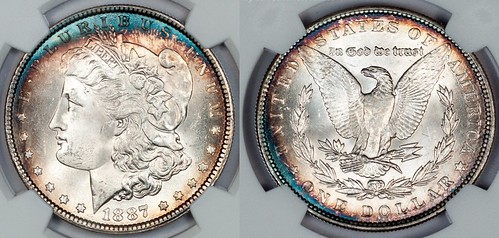 1887 Morgan NGC MS65 Toned