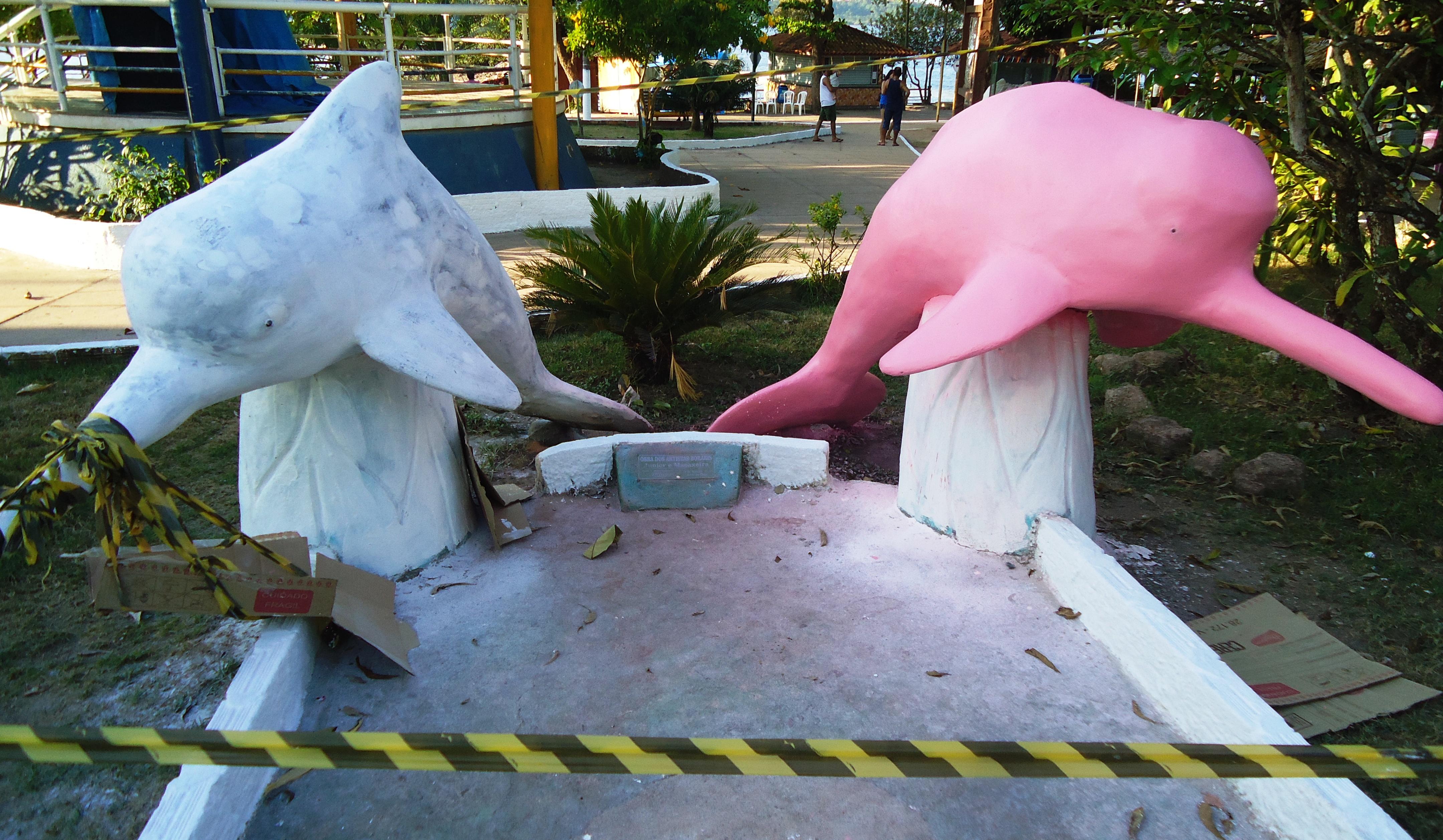 Artista plástico borari restaura imagem dos botos Tucuxi e Cor de Rosa, Sairé