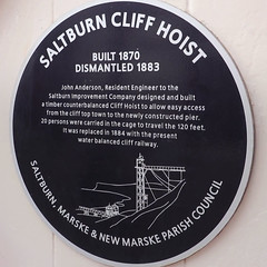 Photo of Saltburn Cliff Hoist and John Anderson blue plaque