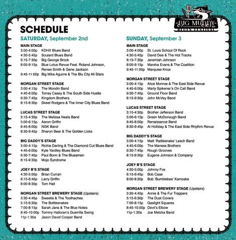 Big Muddy Schedule