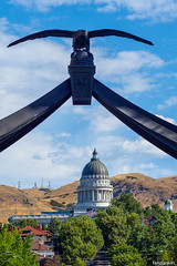 Eagle Gate with Utah State Capitol
