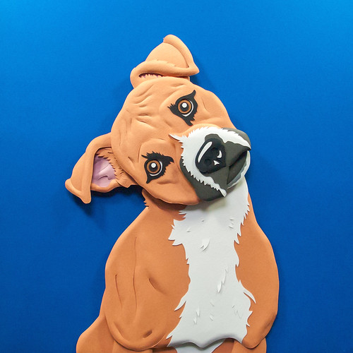 Paper Sculpture Rescue Dog
