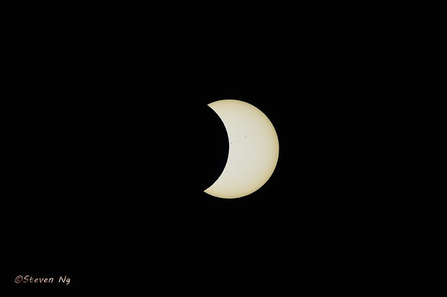 2017 Ending Partial Eclipse with ISS fly over
