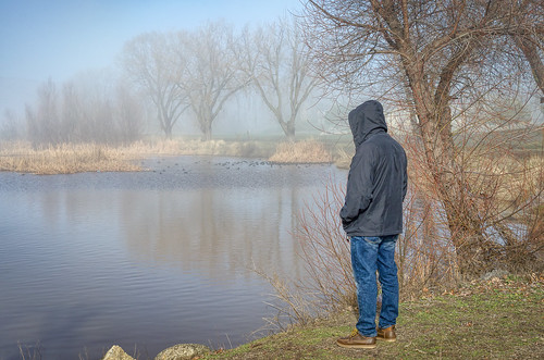 tehachapi man meditating admiring scenicview lakeside river pond peaceful peace relaxing tranquility fog foggy stallionsprings california