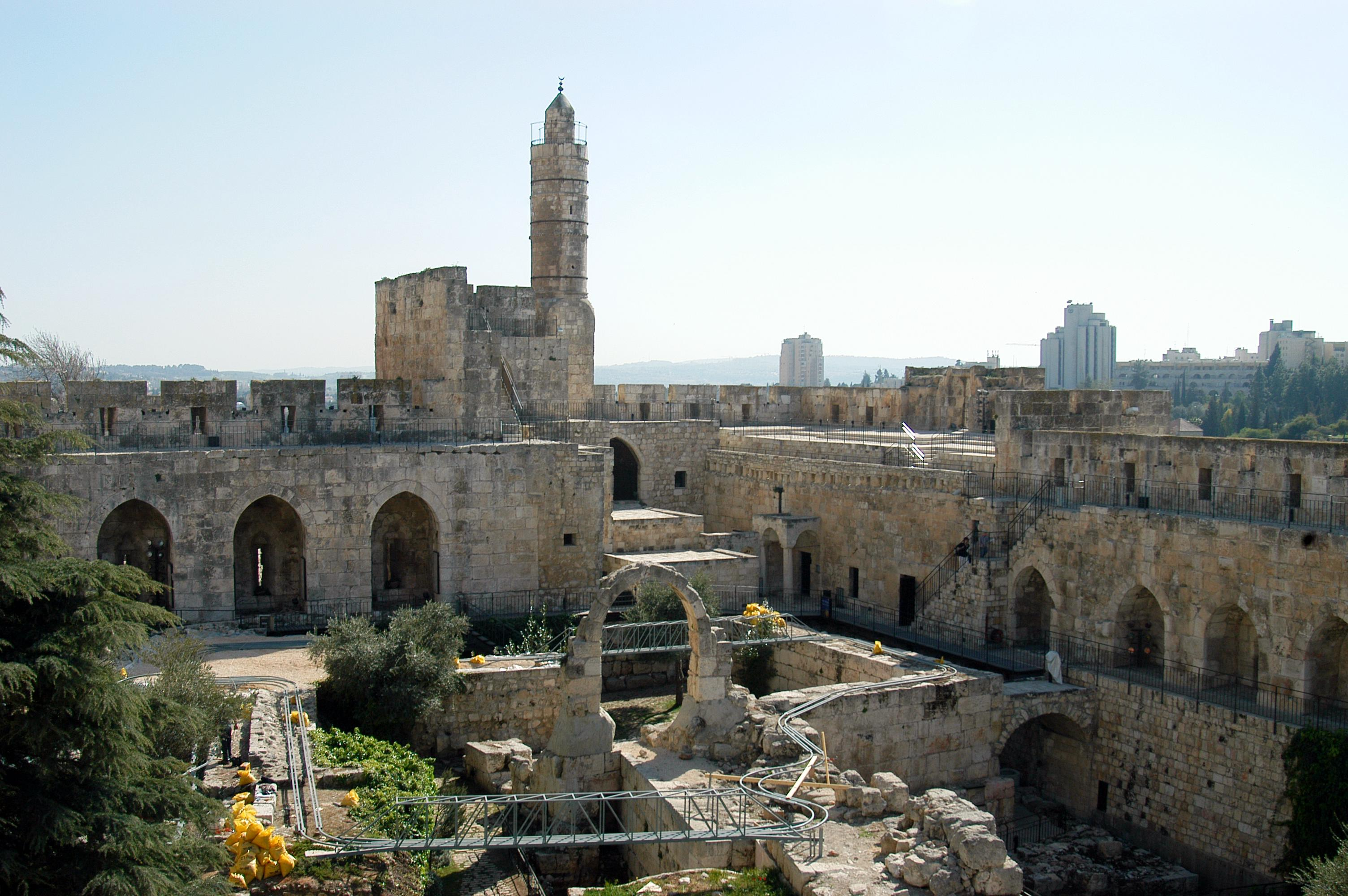 The Citadel (Tower of David) with the archaeological finds in its courtyard and the Ottoman minaret, as it appears today. Photo taken on March 28, 2005.