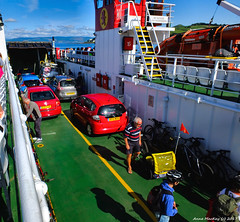 Scotland West Highlands Argyll car deck of ferry Loch Riddon on the way to the island of Cumbrae 9 August 2017 by Anne MacKay
