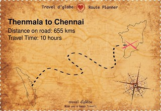 Map from Thenmala to Chennai