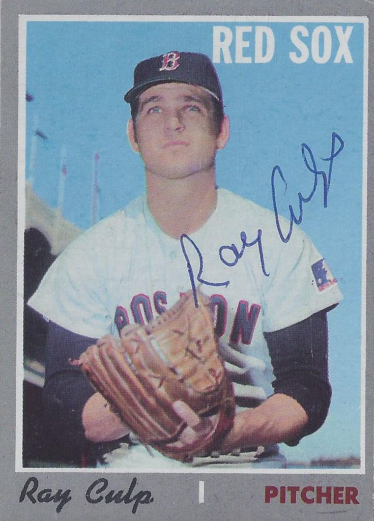 1970 Topps - Ray Culp #144 (Pitcher) - Autographed Baseball Card (Boston Red Sox)