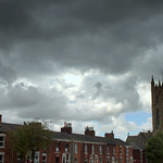 Storm clouds over St Marks in Preston