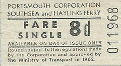 Portsmouth Corporation Southsea and Hayling Ferry Ticket, 8d