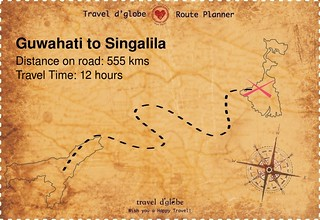 Map from Guwahati to Singalila