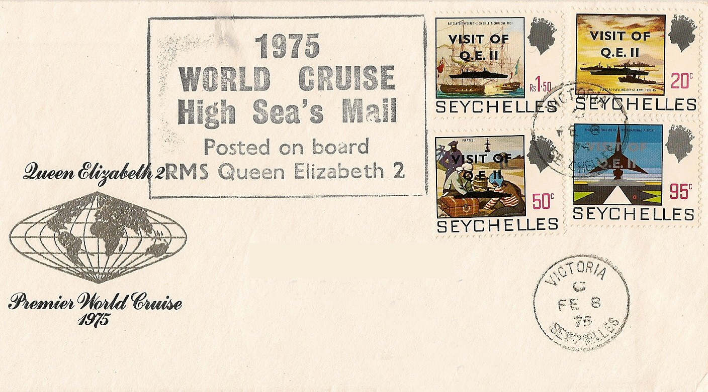 Philatelic cover from QE2's February 8, 1975, visit to The Seychelles. Note the overprint on the stamps.