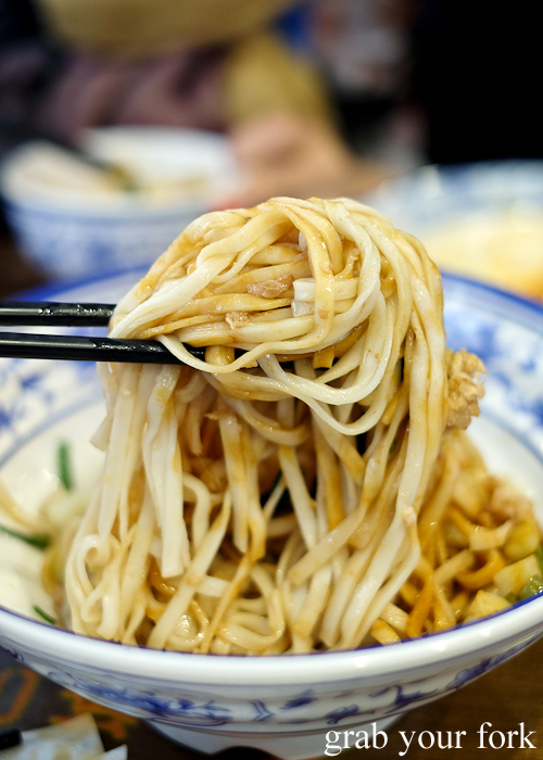 Chewy wheat noodles at Xi'an Biang Biang on Dixon Street in Chinatown Sydney