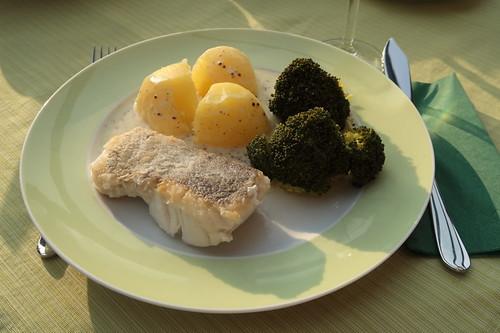 Auf der Haut gebratenes Seehechtfilet mit Senfsoße zu Kartoffeln und Broccoli (mein 1. Teller)