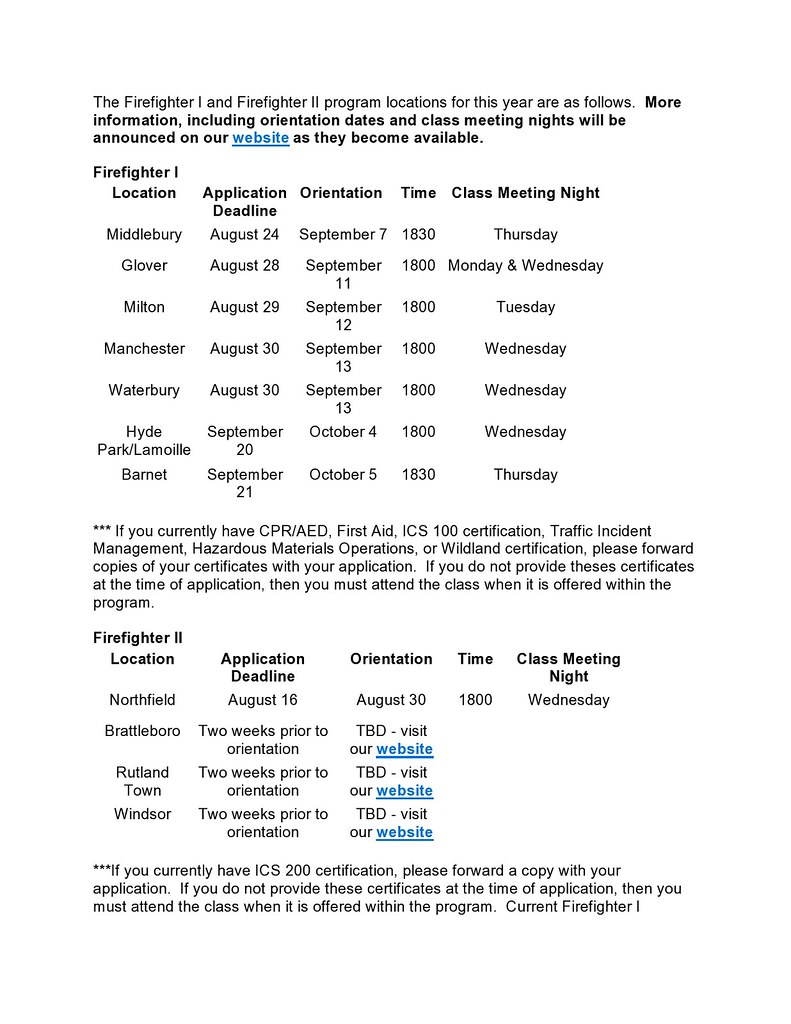 The Firefighter I and Firefighter II program locations for this year are as follows-page0001