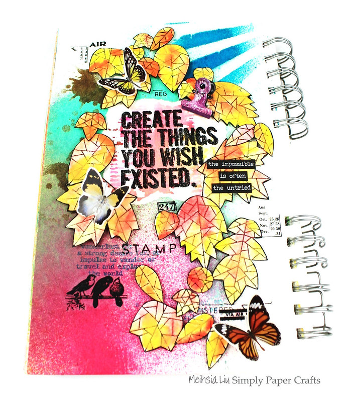 Meihsia Liu Simply Paper Crafts Art Journal Create Simon Says Stamp Leaves Tim Holtz