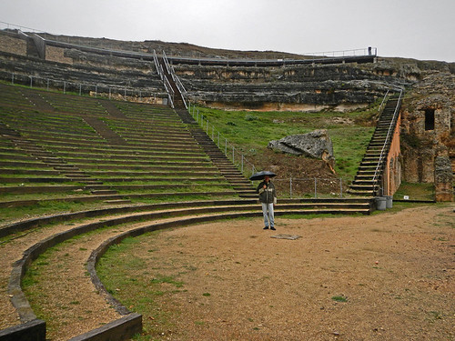 The Amphitheater in Clunia, a Roman ruin that had existed as a town for several hundred years (from pre-Roman times until about the 3rd century AD)