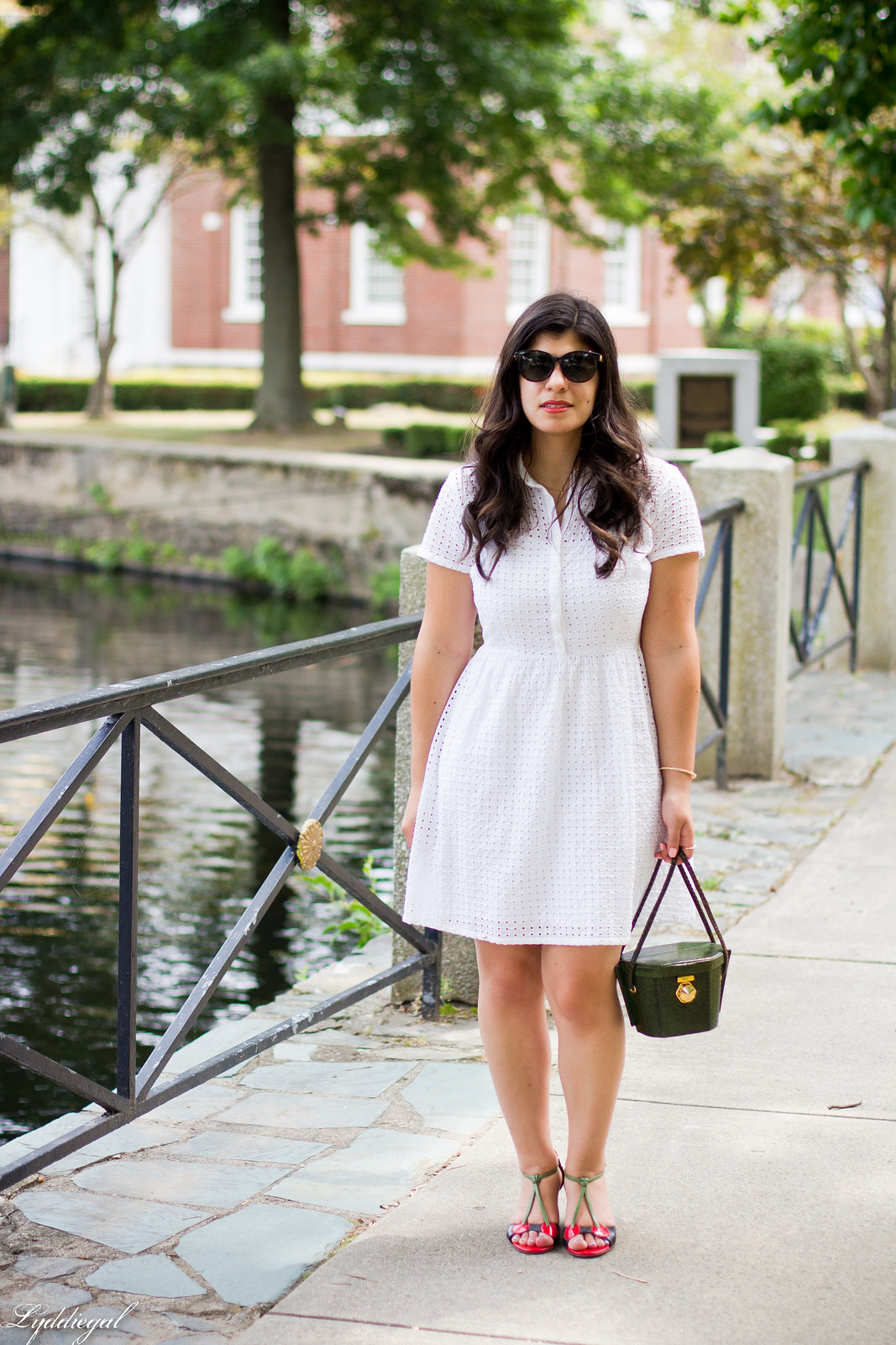 white eyelet lace dress, green snake box bag, cherry pumps.jpg