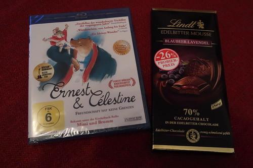"""Edelbitter Mousse Blaubeer-Lavendel Schokolade zum Zeichentrickfilm """"Ernest & Célestine"""""""