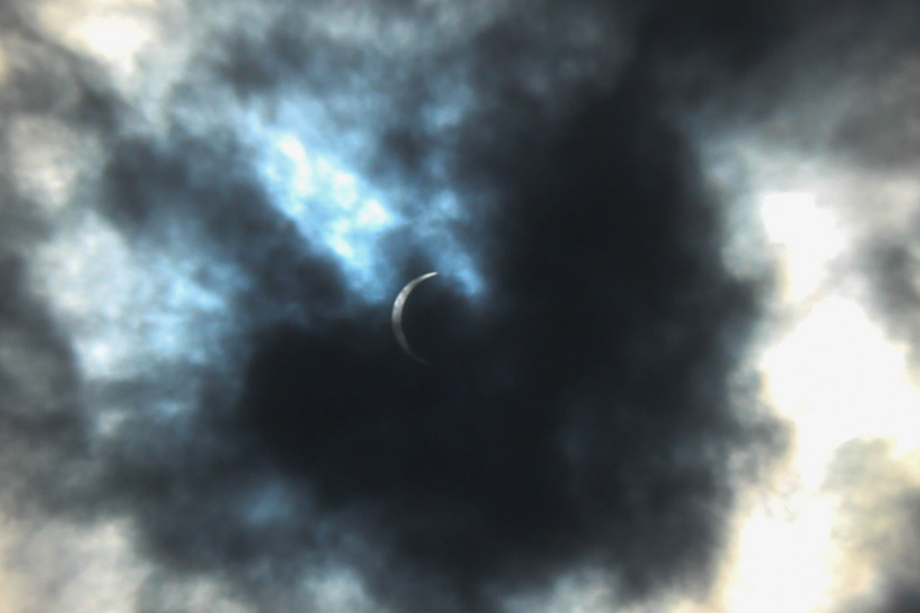 the crescent of the sun during the eclipse