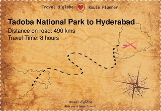 Map from Tadoba National Park to Hyderabad
