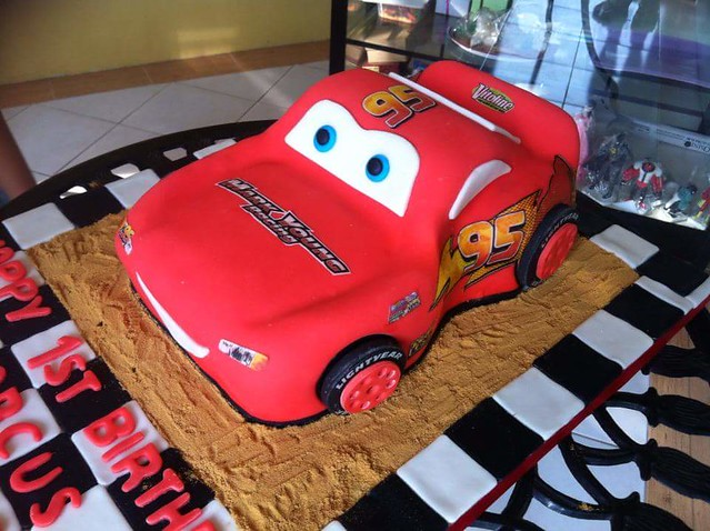3D Lightning Mcqueen Fondant Cake by Mary Ann Asuncion-Merced of Pastry Art Cake Shop