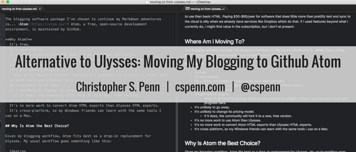Alternative to Ulysses- Moving My Blogging to Github Atom.png