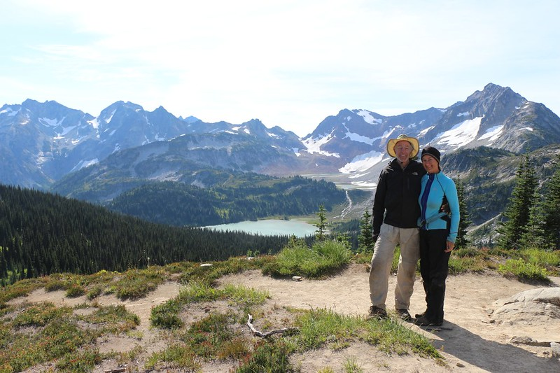 A shot of the two of us at Cloudy Pass with Lyman Lake and Spider Gap in the background
