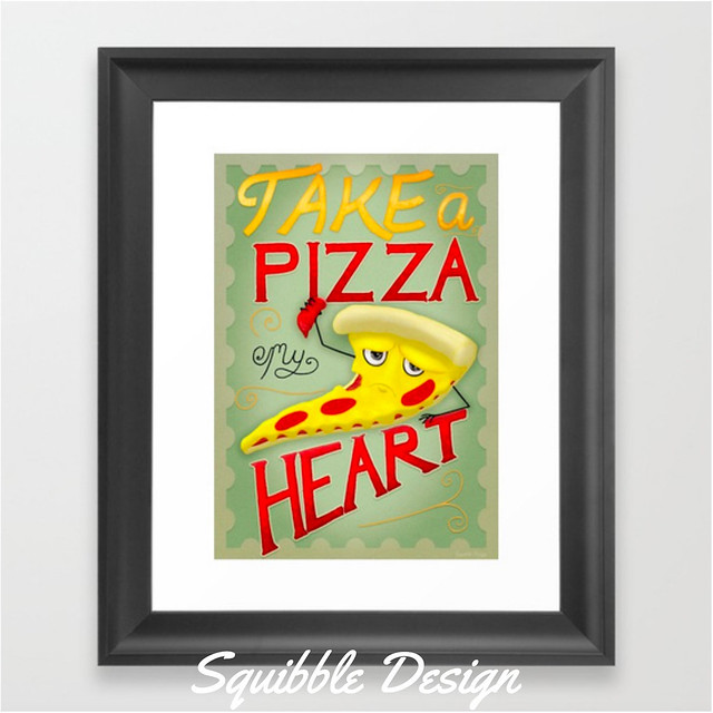 Take_a_Pizza_My_Heart_Framed_Art_Print_by_Squibble___Society6